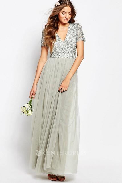 A-Line Short Sleeve Chiffon Dress