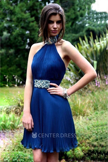 A-Line Mini Sleeveless Beaded High Neck Prom Dress With Backless Style And Pleats