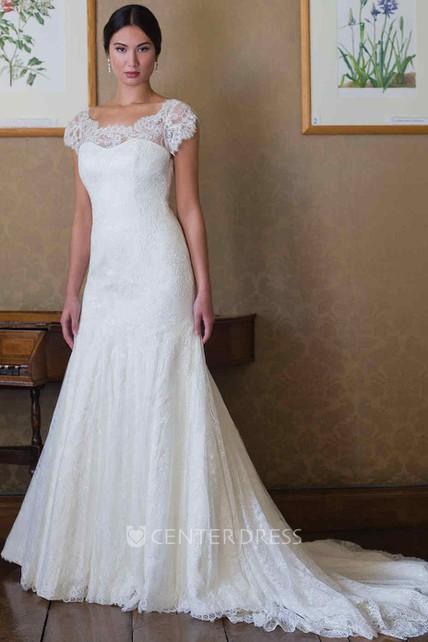 2b26e84466ab Cap-Sleeve Scoop-Neck Lace Wedding Dress With Illusion - UCenter Dress
