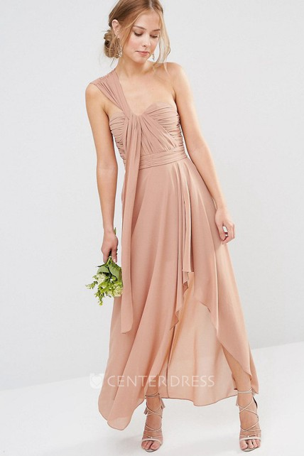 424047a916f High-Low Sleeveless One-Shoulder Ruched Chiffon Bridesmaid Dress - UCenter  Dress