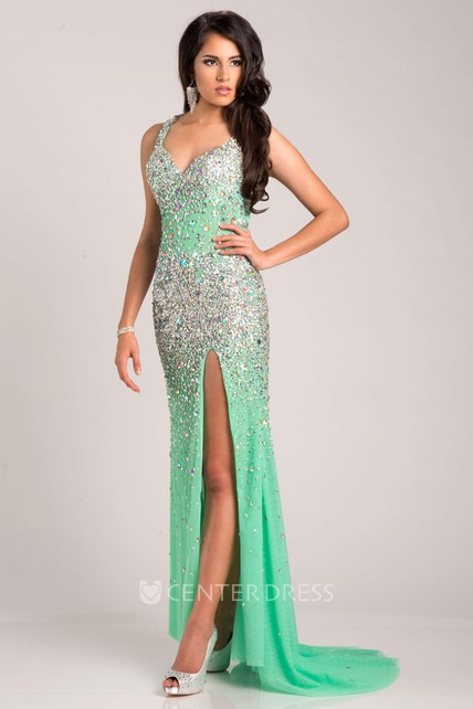Front Slit Sleeveless Sequined Long Prom Dress With V-Neck