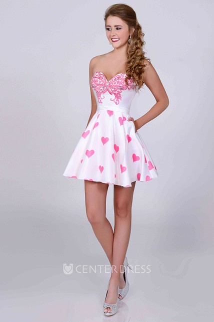 773482db635f Cute A-Line Sweetheart Mini Prom Dress With Crystal Detailing - UCenter  Dress