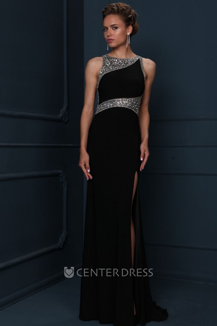 Sheath Sleeveless Scoop-Neck Beaded Floor-Length Jersey Evening Dress With Split Front