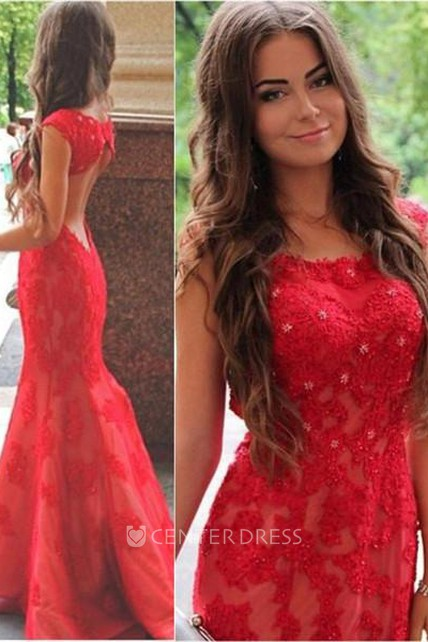 6b280e03f58a Sexy Red Lace Appliques Mermaid Evening Dress 2018 Sweep Train Jewel - UCenter  Dress
