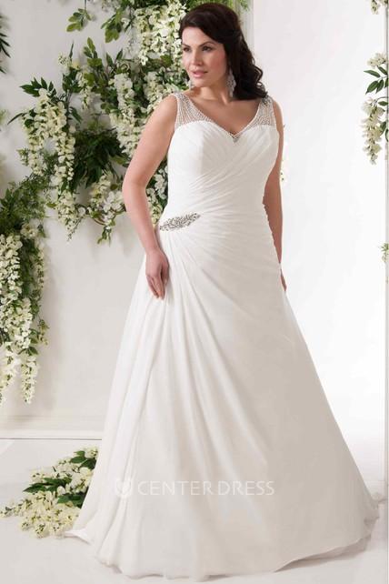 A Line V Neck Draped Sleeveless Chiffon Plus Size Wedding Dress With