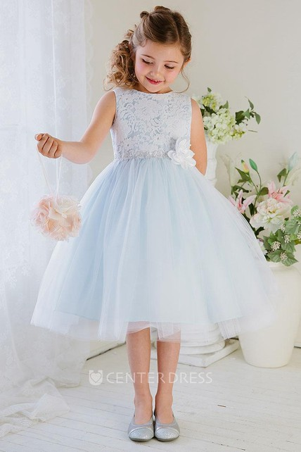 Floral Tea-Length Tiered Tulle&Lace Flower Girl Dress
