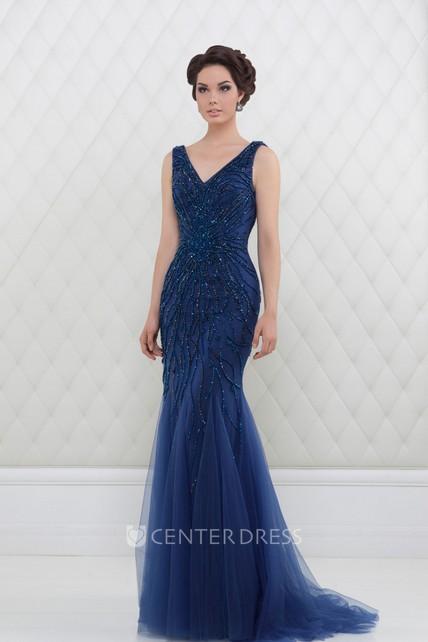 bb962e0b7c3 Trumpet V-Neck Beaded Long Sleeveless Tulle Prom Dress With Pleats -  UCenter Dress