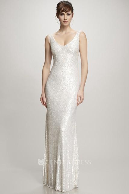 7940b11f895 Floor-Length V-Neck Sequins Wedding Dress With Brush Train And V Back -  UCenter Dress