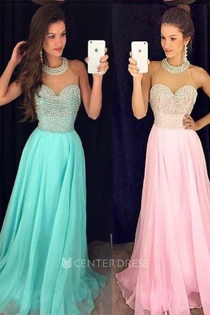 048b43456f Timeless Beads High-Neck Long Prom Dress 2018 Chiffon Sleeveless Party Gowns  - UCenter Dress