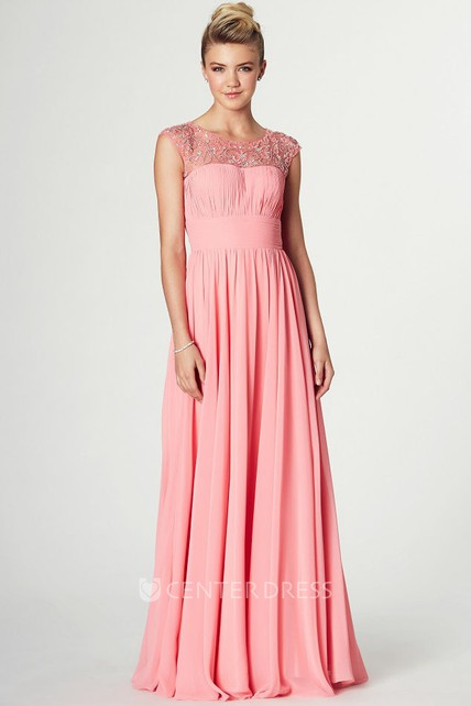 Maxi Ruched Sleeveless Scoop Neck Chiffon Prom Dress