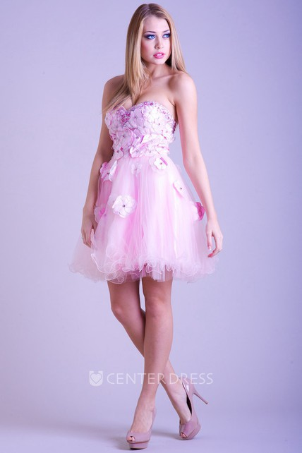 A Line Sleeveless Sweetheart Floral Short Mini Tulle Prom Dress With Beading And Ruffles