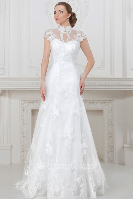 1ebd3d402ad2 A-Line Cap-Sleeve Maxi High Neck Lace Wedding Dress With Corset Back -  UCenter Dress