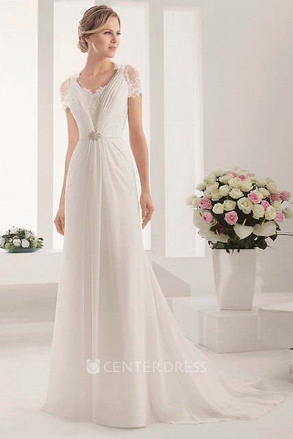 Modest Lace Short-Sleeve A-Line Long Chiffon Gown With Shiny Waist