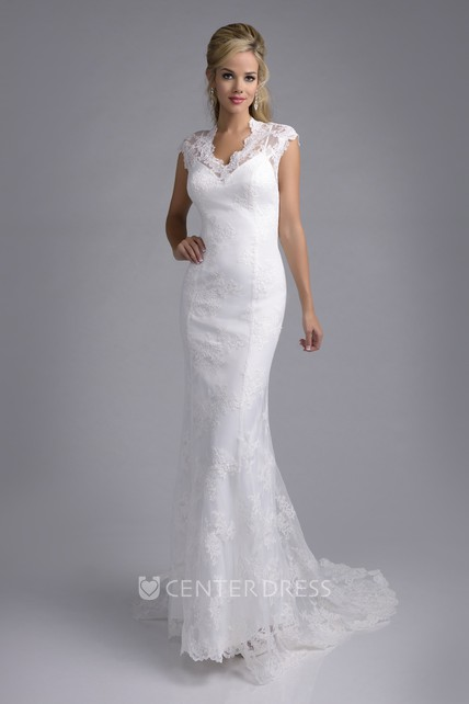 Cap Sleeve Sheath Lace Wedding Dress With Scalloped Edge Neckline