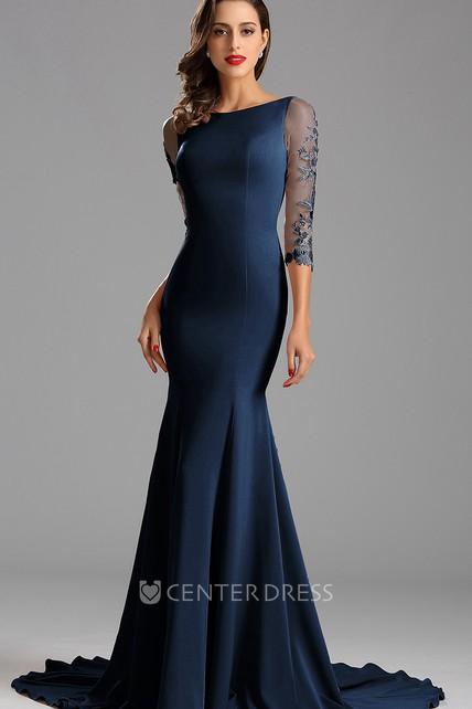 18fff28bbe6 Mermaid Floor-Length Court Train Bateau 3 Taffeta Appliques Zipper Dress -  UCenter Dress