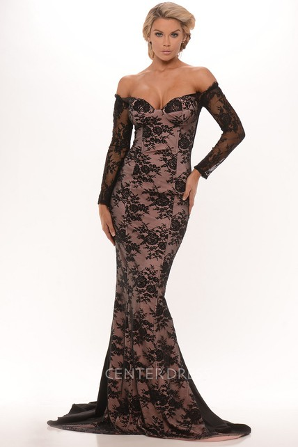 One-Shoulder Maxi Long-Sleeve Lace Prom Dress With Sweep Train