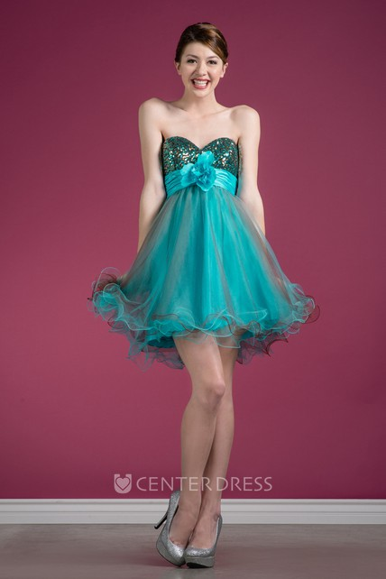 21a03a3185c Muti-Color A-Line Short Sweetheart Sleeveless Tulle Dress With Sequins And  Ruffles - UCenter Dress