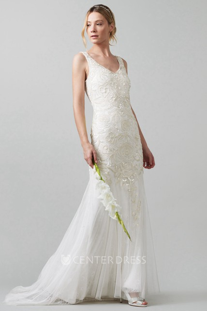 7d666702bb5cb Sheath Sequined V-Neck Sleeveless Tulle Wedding Dress With Beading - UCenter  Dress