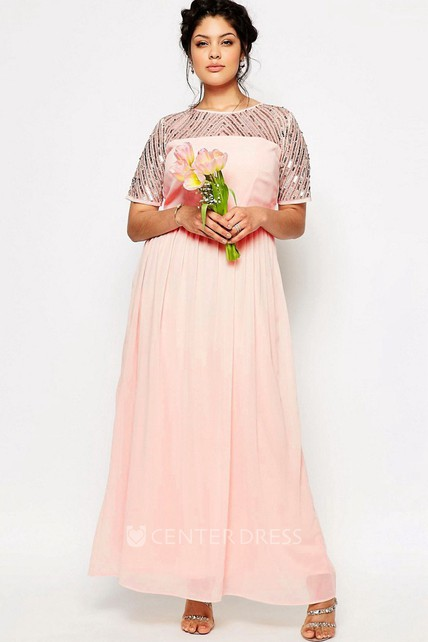 d4bb636fff Sheath Short-Sleeve Pleated Scoop-Neck Ankle-Length Chiffon Bridesmaid Dress  With Sequins - UCenter Dress