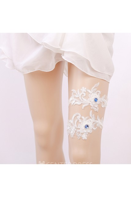 Blue Beaded Lace Applique Elastic Bridal Garter Within 16-23inch