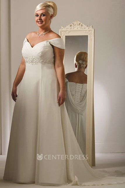 d2fb8ace340 Plus Size Off Shoulder Tulle Bridal Gown With Lace Up - UCenter Dress