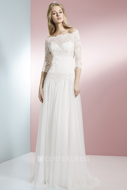 434cb994cc7b2 Sheath 3-4 Sleeve Off-The-Shoulder Lace Tulle Wedding Dress With Brush Train  - UCenter Dress