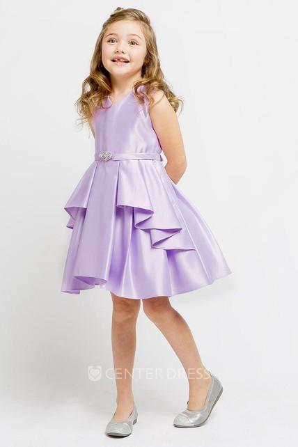 9254e95658f Split Knee-Length Split-Front Beaded Satin Flower Girl Dress With Sash -  UCenter Dress