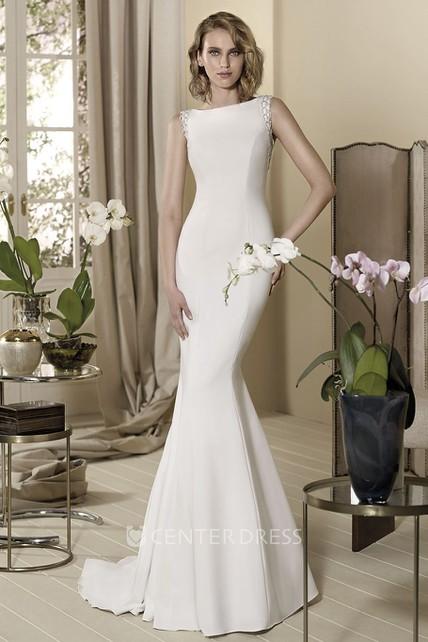 Sheath Floor-Length Beaded Bateau-Neck Sleeveless Wedding Dress ...