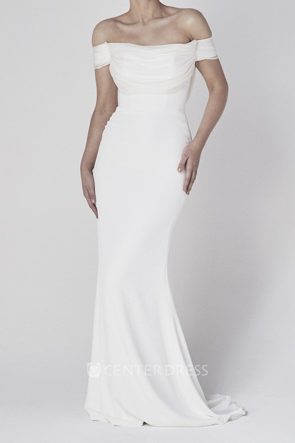 Off-the-shoulder Elegant Sheath Satin Bridal Gown With Tiers And V-back