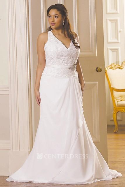 Sheath V-Neck Sleeveless Jeweled Chiffon Plus Size Wedding Dress With  Draping