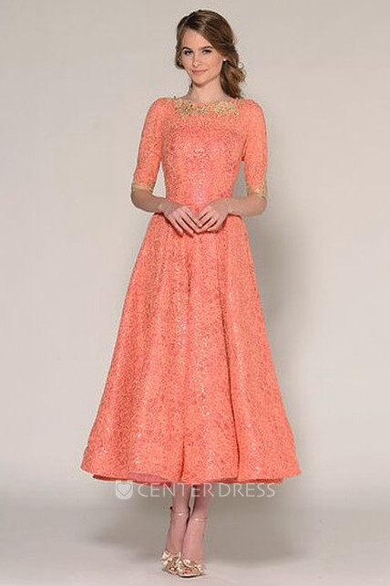 A-Line Tea-Length Half Sleeve Jewel Neck Beaded Lace Prom Dress
