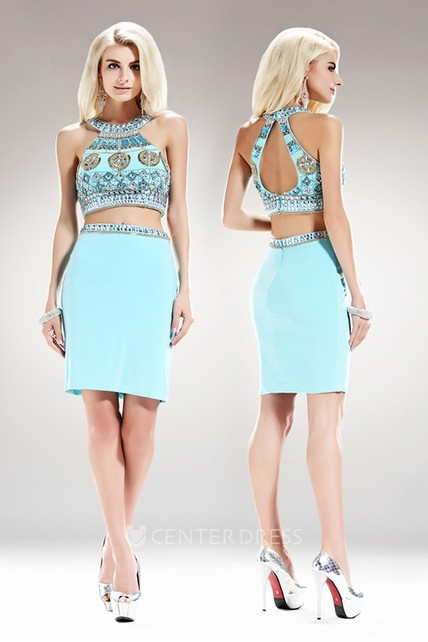 Two-Piece Sheath Short Scoop-Neck Sleeveless Jersey Keyhole Dress With Beading