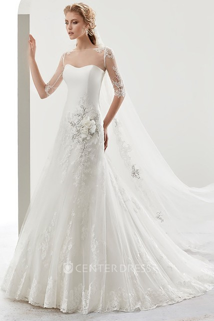 1f084508aa1d Illusion Half-sleeve Bridal Gown with Beaded Flower Embellishment and Jewel  Neck - UCenter Dress