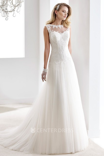 Cap Sleeve Draping Chiffon Gown With Lace Bodice And Illusive Neckline