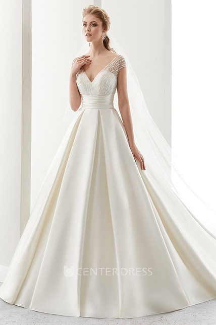V-Neck Illusion-Strap Satin A-Line Wedding Dress With Cinched Waistband And Low-V Back