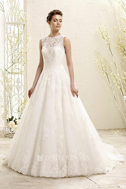 A Line Sleeveless Appliqued High Neck Maxi Lace Wedding Dress