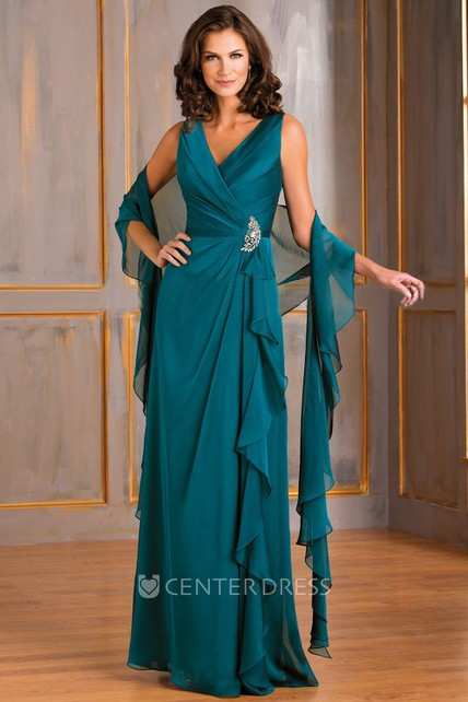 V-Neck Sleeveless Ruffled Gown With Matching Shawl And Crystals