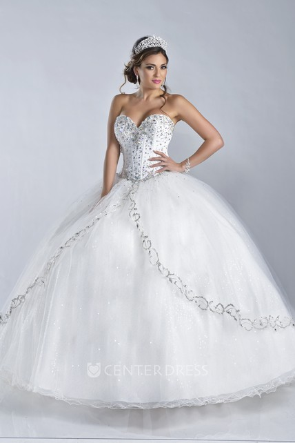 Lace-Up Back Sweetheart Ball Gown With Bodice Rhinestones