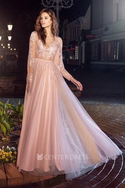 0d01a86e764e91 A-Line Bateau Puff Long Sleeve Tea-Length Lace Illusion Dress With  Appliques - UCenter Dress