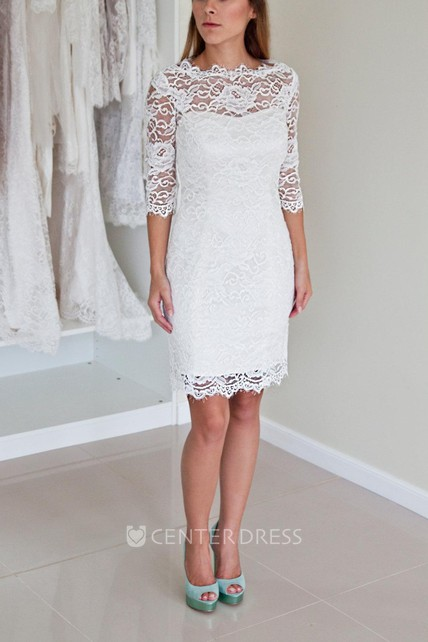 0b6ced902bd Illusion Neckline Long Sleeve Short Lace Wedding Dress With V Back -  UCenter Dress