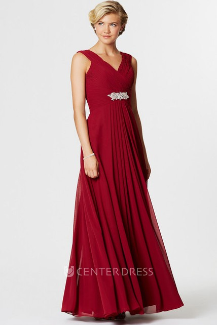 86e26ca4315 Sleeveless Ruched V-Neck Chiffon Bridesmaid Dress With Waist Jewellery - UCenter  Dress