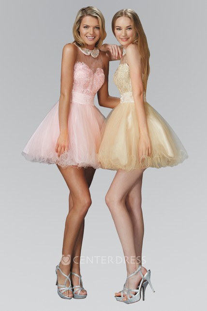 A-Line Mini Scoop-Neck Sleeveless Tulle Dress With Beading And Ruffles