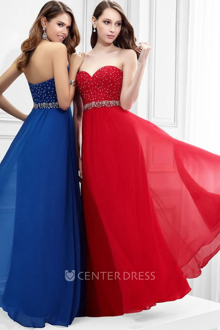 Sleeveless Sweetheart Beaded Chiffon Prom Dress