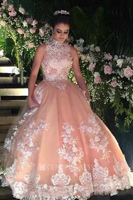 1b1923934787 Sleeveless Ball Gown High Neck Floor-length Lace Tulle Prom Dress with  Appliques Beading Lace - UCenter Dress