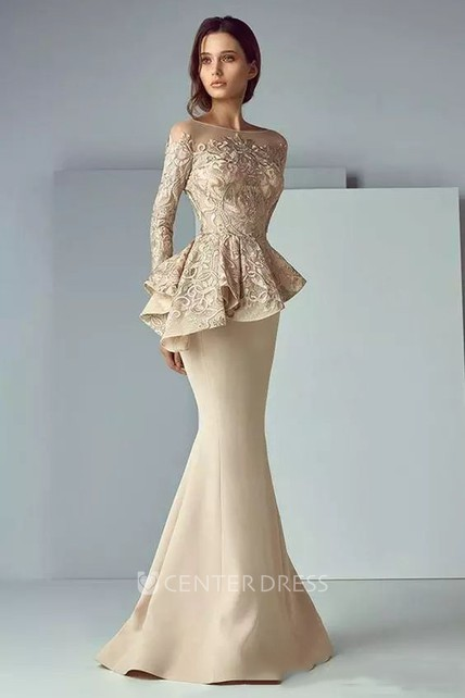 Long Sleeve Mermaid Bateau Floor-length Satin Lace Mother of the Bride Dress with Peplum