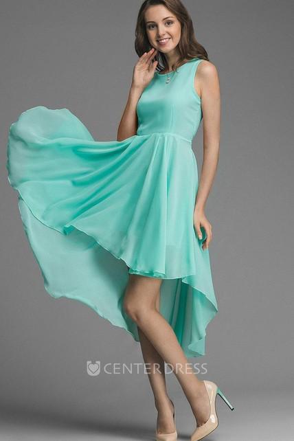8d73f81f270139 Asymmetrical Bow Belt Chiffon Bridesmaid Dress - UCenter Dress