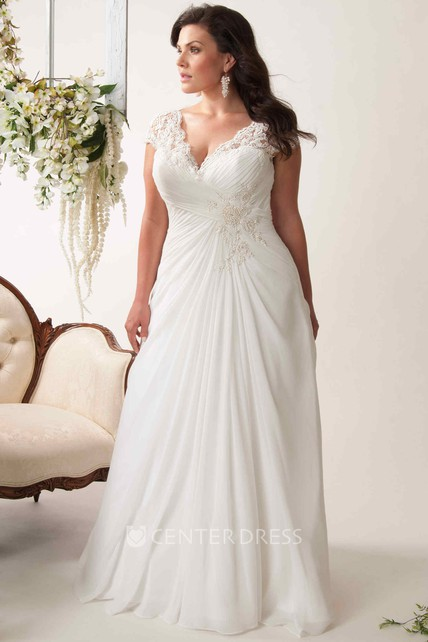 Sheath V Neck Appliqued Cap Sleeve Chiffon Plus Size Wedding Dress
