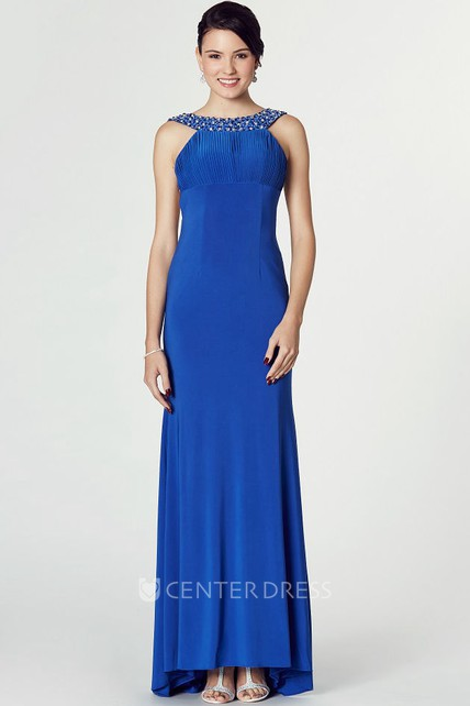 High-Low Scoop Neck Beaded Sleeveless Jersey Prom Dress With Brush Train