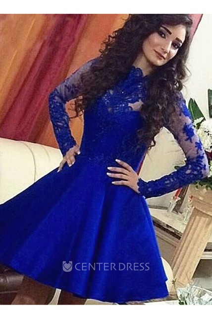 A-line Short Mini Long Sleeve High Neck Lace Ruching Satin Lace Homecoming Dress