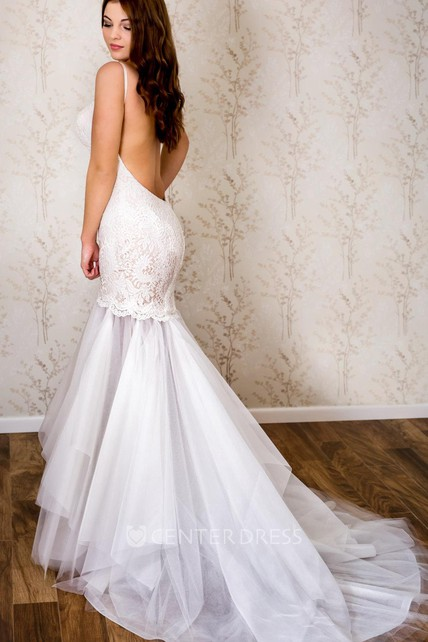 2a7ef5ddf05e Spaghetti Strap Lace and Tulle Mermaid Wedding Dress - UCenter Dress